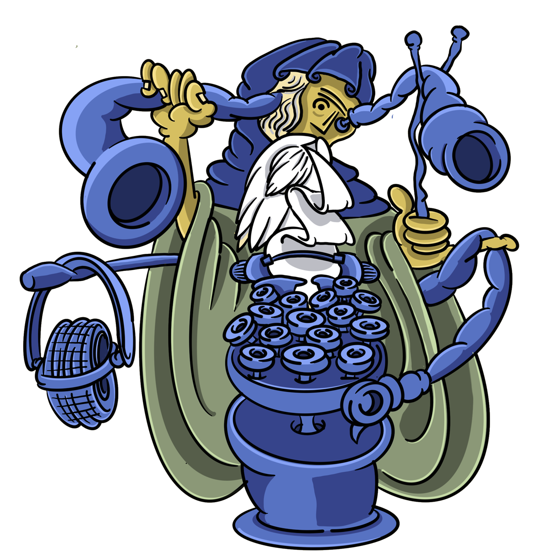 a saint with a telescope coming out of his eye